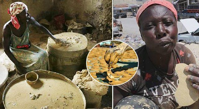 Des Haïtiens infortunés mélangent du sel, de l'huile et de la boue pour des «galettes de boue» afin éviter la famine