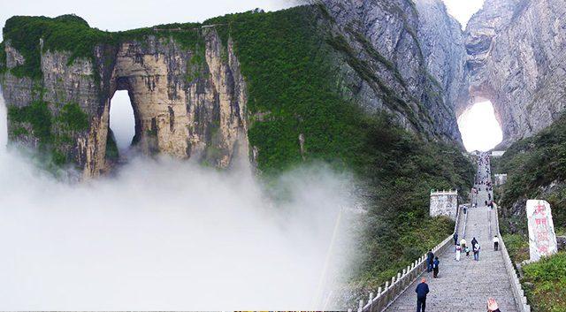 Les Chinois croient qu'il s'agit d'une porte du ciel, située à 1300m sur le Mont Tianmen