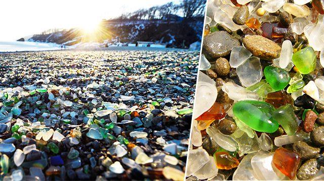La baie de galets de verre en Russie nous montre le magnifique travail de polissage de la nature!