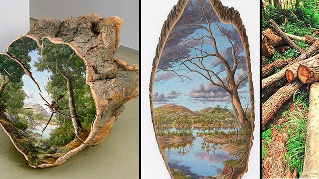 Un artiste saisit l'ironie de la déforestation en peignant des paysages réalistes sur des morceaux de bois coupés
