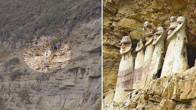 Ces figures mystérieuses de 600 ans perchées sur le bord d'une falaise au Pérou vous surprendront pour ce qu'elles sont en réalité !