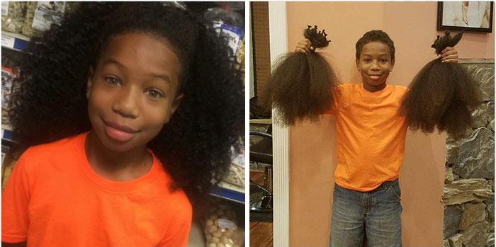 ce gar on de 8 ans laisse pousser ses cheveux pour les enfants atteints de cancer et gagne d. Black Bedroom Furniture Sets. Home Design Ideas