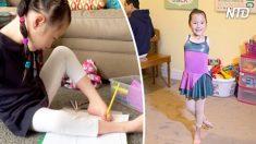 Une fillette de 9 ans est née sans bras, mais regardez attentivement comment elle utilise ses baguettes!