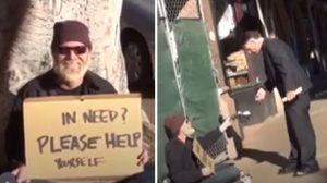 La plupart des gens ignorent ce sans-abri, mais regardez ce qui se passe lorsque certains lisent son affiche