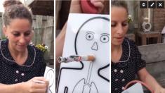Une dame allume une cigarette pour ce joli modèle scientifique. Mais après quelques bouffées, c'est remarquable