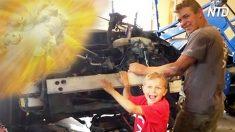 Un enfant de 8 ans a soulevé une voiture du corps de son père pris dans un accident terrifiant, mais il dit que les « ANGES » l'ont aidé