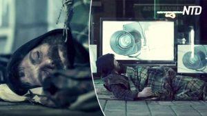 Un homme sans-abri est intrigué de se voir en direct à la télévision – alors, un film très familier commence à jouer