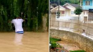 Un homme entend des cris désespérés près d'une maison inondée… ce qu'il trouve à l'intérieur est bouleversant