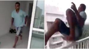Un homme court tout droit vers un balcon et saute par-dessus la rampe. Qu'est-ce qui lui arrive à la fin? je n'ose pas regarder