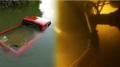 Un chasseur de trésors de rivières aide à récupérer une camionnette engloutie au fond de l'eau