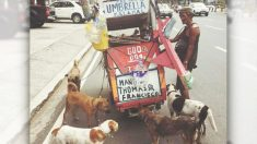 Un homme pauvre à Manille vend des