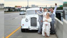 États-Unis : une photo de mariage épique capture une panne de voiture de jeunes mariés sur l'autoroute