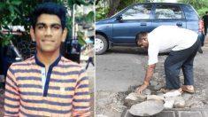 En l'honneur de son fils décédé, un homme décide de combler les nids-de-poule pour le reste de sa vie