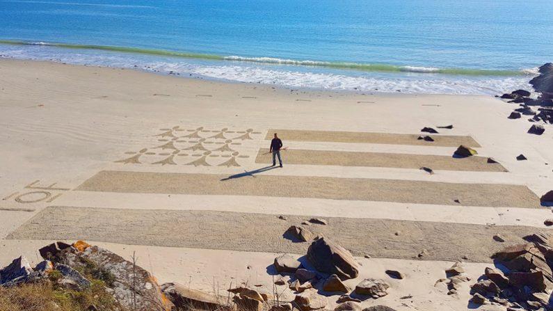 VIDÉO: il dessine un drapeau breton géant sur le sable d'une plage de Carnac
