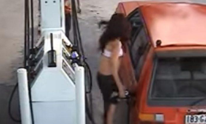 À voir: une femme est projetée en l'air alors qu'elle tentait de voler de l'essence