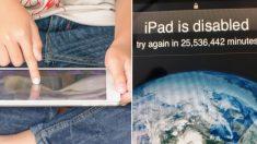 Un enfant de 3 ans a désactivé l'iPad de son père pour une période de 25 millions de minutes, soit jusqu'en 2067
