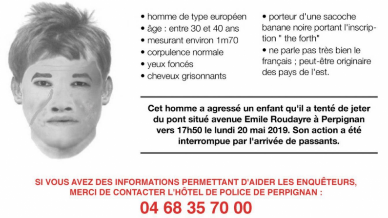 Perpignan: appel à témoins pour retrouver un homme qui aurait tenté de jeter un enfant d'un pont