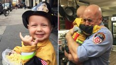 Un tout-petit en phase terminale adore les pompiers - il rencontre ses héros avant sa mort