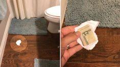 Une mère cache 5 $ sous un morceau de papier sur le sol de la salle de bain pour tester son mari et ses enfants. Devinez qui le ramasse?