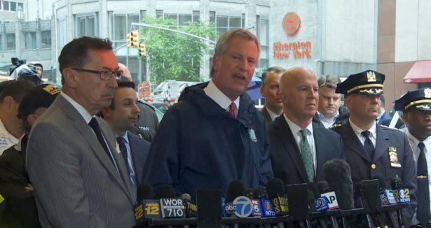 NYC Mayor Bill de Blasio making a statement